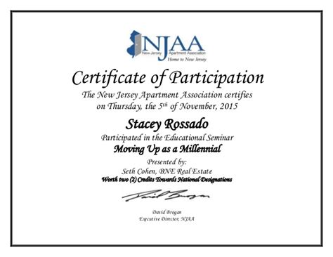 Certificate Of Participation Stacey Rossado Certificate Of Participation Template Ppt