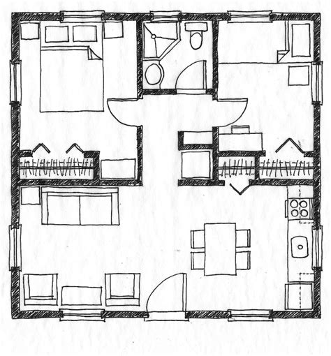 Small Square House Plans | small scale homes 576 square foot two bedroom house plans