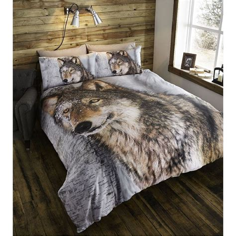 Wolves Bedding Set Duvet Cover Pillowcases Bedding Bed Set Brown Wolf Animal Co Uk Kitchen Home