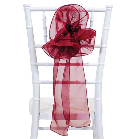 sheer flower chair accent burgundy