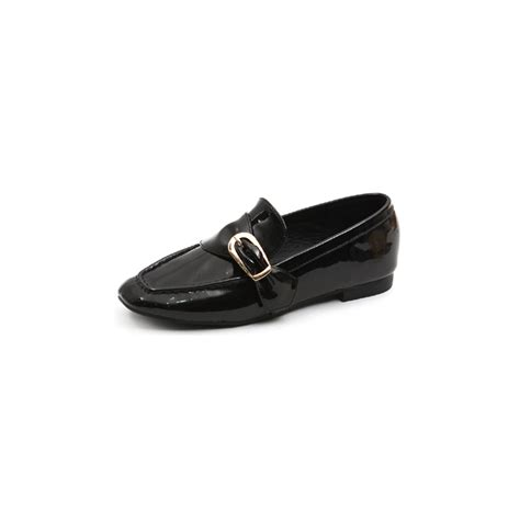 Garetha Studs Glossy Flats Shoes womens glossy big belt loafers