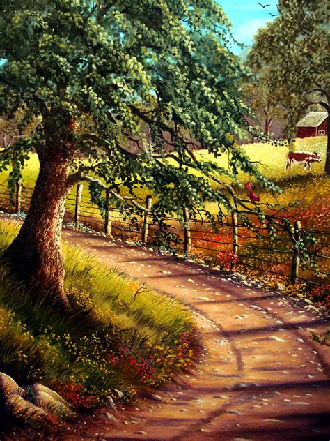 Vintage Farmhouse Plans country road painting by david g paul