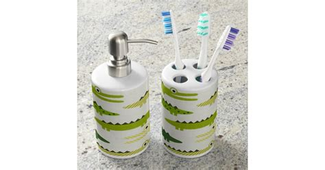 Green Alligators Bathroom Soap And Toothbrush Set Zazzle Toothbrush And Soap Coloring