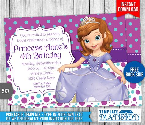 sofia the first birthday invitation 4 by templatemansion