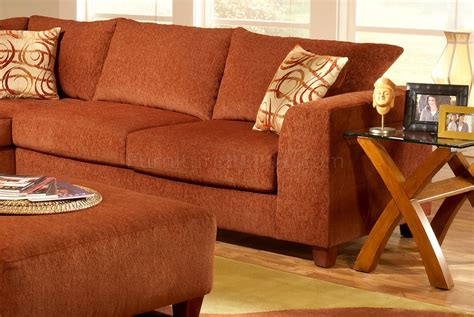 terracotta fabric modern sectional sofa woptional ottoman