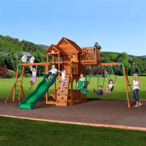 cedar swing set with slide backyard playground and swing sets ideas backyard play