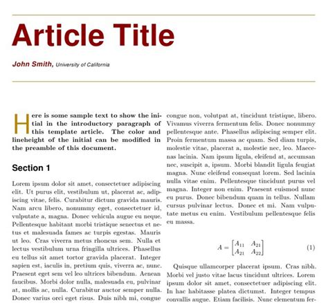 article template two column article templates tex stack exchange