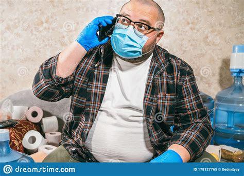 man  medical mask calling food delivery  order food   toilet paper  drinking