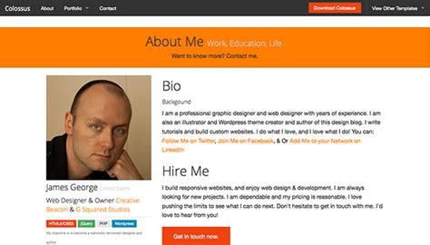 biography web templates colossus free responsive html5 website template creative