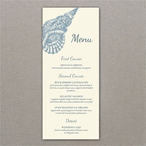 menu invitation template menu template sea shell design menu card template