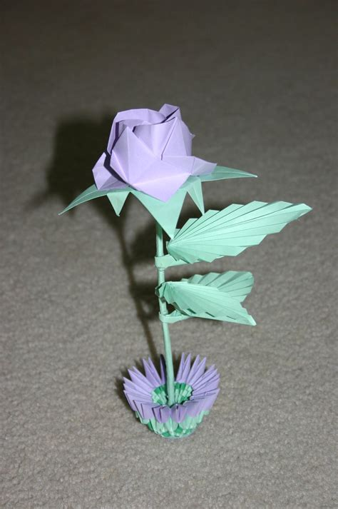 Origami Small - 3d origami purple with small basket by