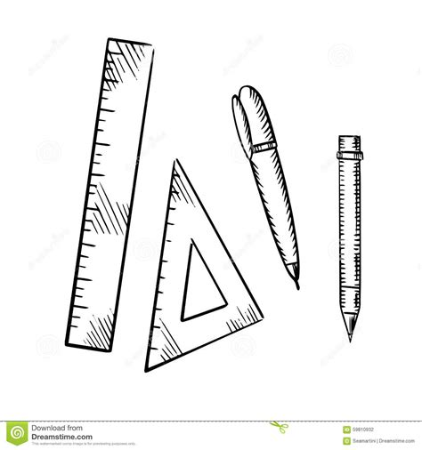 icon design pencil rule streamline pencil pen triangle and ruler sketch icons stock vector