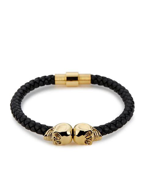 Skull Bracelet black leather mens bracelet mens skull bracelet