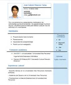 Plantillas De Curriculum Vitae Para Estudiantes Universitarios Jos 233 Palacios Far 237 As Noviembre 2013