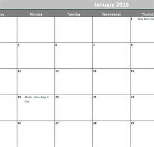 Calendar Monthly Template by 2016 Monthly Calendar