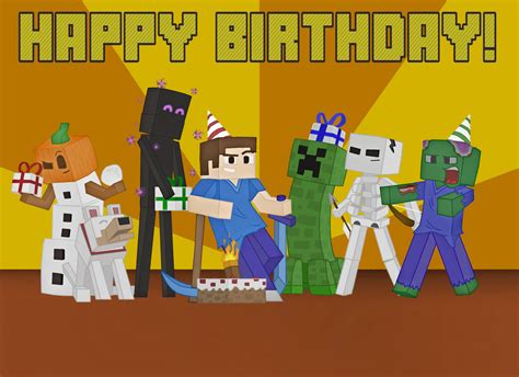 Where Can You Buy A Minecraft Gift Card - minecraft birthday card picture by bombcrop on deviantart