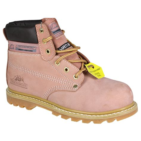 womens steel toe lace leather ankle work boots pink