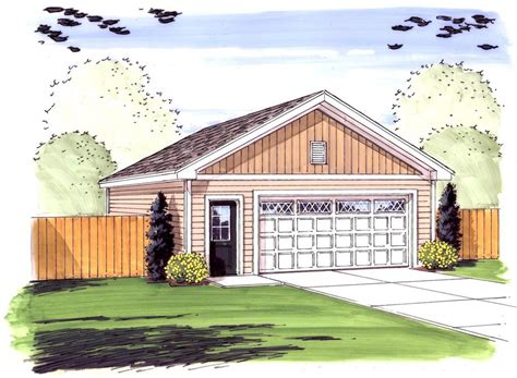 Simple 2 Car Garage With Man Door 62481dj Cad Simple House Plans With Garage