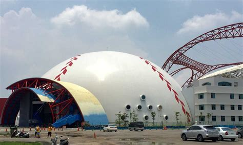 Dome For new sports dome completed in taiwan monolithic dome
