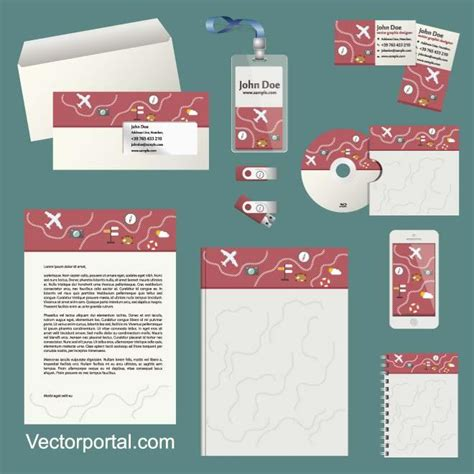 Travel Theme Design Stationery Template Illustrator