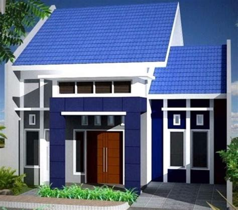 gambar contoh cat rumah minimalis warna biru terbaik rumah