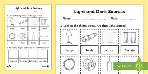 light and sources cut and stick activity sheet activity