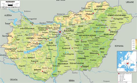 physical map of hungary physical map of hungary ezilon maps