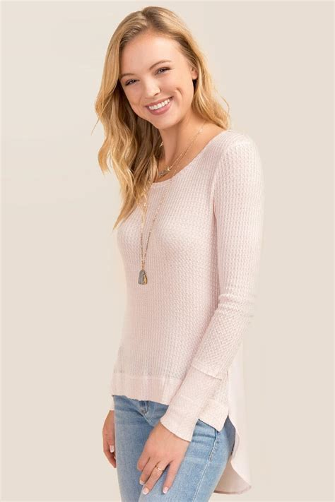 Blouse Wolly Crepe Hiotam Fn waffle knit crepe back top s