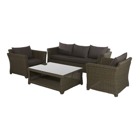 mimosa deluxe aluminium wicker lounge setting 4pc