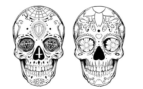sugar skull tattoo design black and white sugar skull