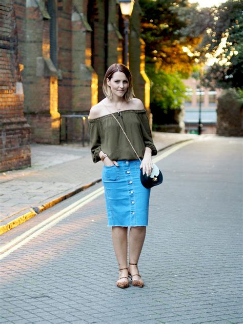 khaki denim pencil skirt post on style