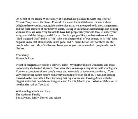 Pdf Thank You Note For Funeral thank you letter for funeral