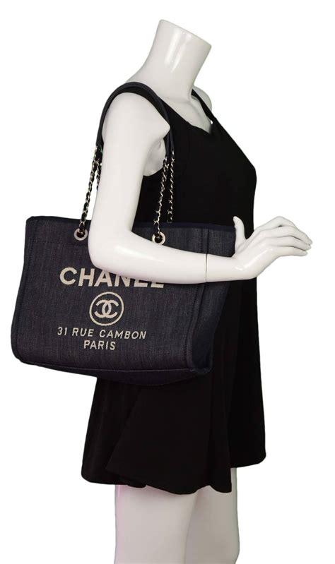 Chanel Deaville Shopping Tote Bag Vl971 chanel 15 blue denim deauville shopper tote bag shw at