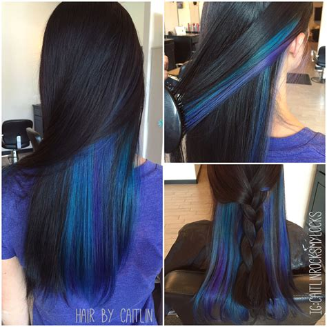 hairstyle with dark color underneath underlights purple and blue hair peacock hair galaxy