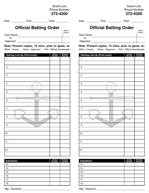 lineup card template 8 best images of baseball card free printable template