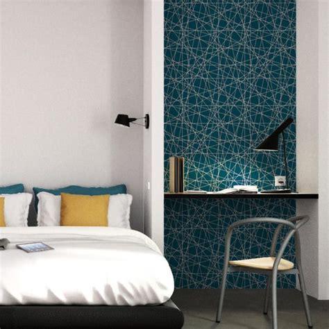 tete de lit papier peint 261 intiss 233 mikado by e rivassoux coloris bleu p 233 trole