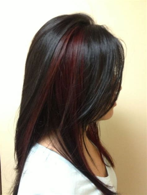 red brunette hair color over 50 peek a boo blonde highlights on dark hair black hair