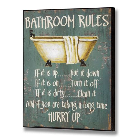 bathroom rules wall plaque
