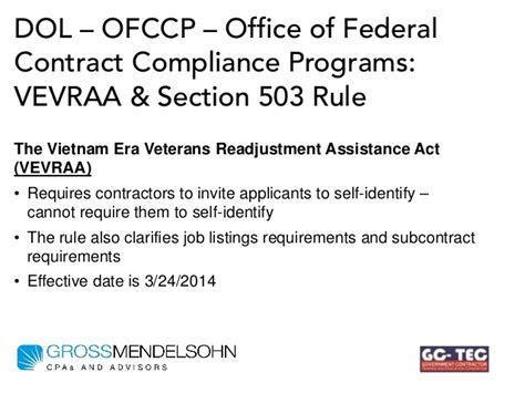 Section 503 Compliance by What Government Contractors Need To Do To Comply With New