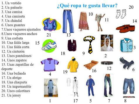 imagenes ropa ingles spanish clothes vocabulary and gustar 191 qu 233 ropa te gusta