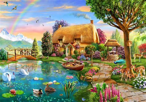 puzzle lakeside cottage bluebird puzzle   pieces
