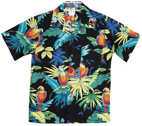 aloha shirt paradise parrots boys hawaiian aloha shirt in black