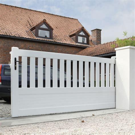 portail garage pvc portail coulissant pvc plescop blanc naterial l 350 x h