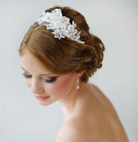 bridal headband floral headband ivory lace by powderbluebijoux