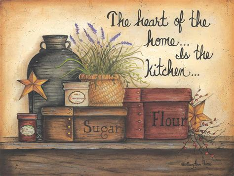 of the home is the kitchen by november - Country Kitchen Prints