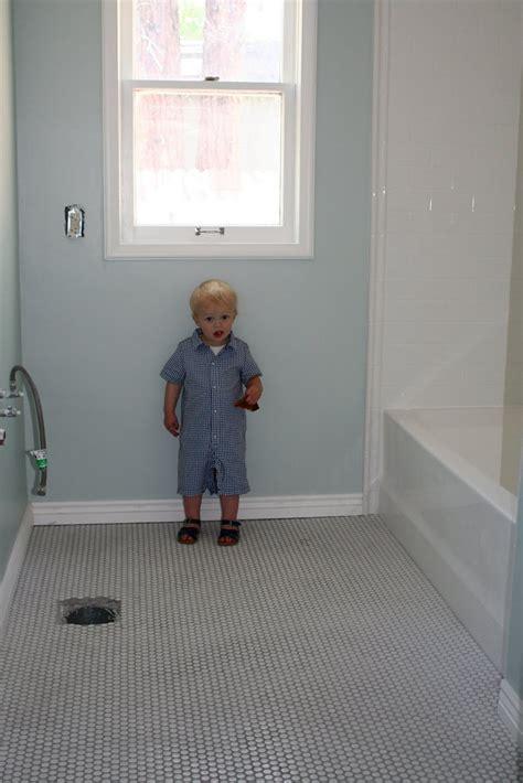 penny tile in bathroom bath penny tile floors bathrooms pinterest