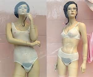 with pubic hair in see through american apparel displays mannequins with pubic hair