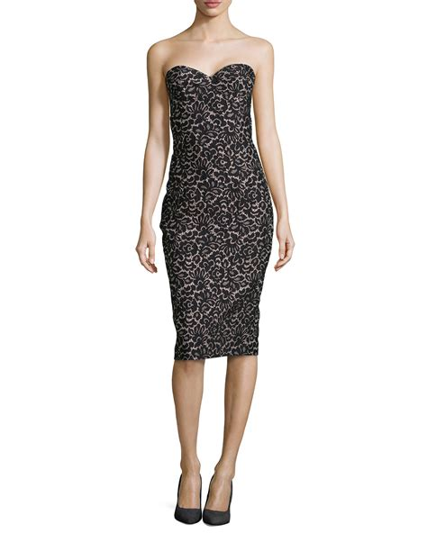Who Wore It Better Michael Kors Black Strapless Jumpsuit by Michael Kors Strapless Lace Jacquard Sheath Dress In Black