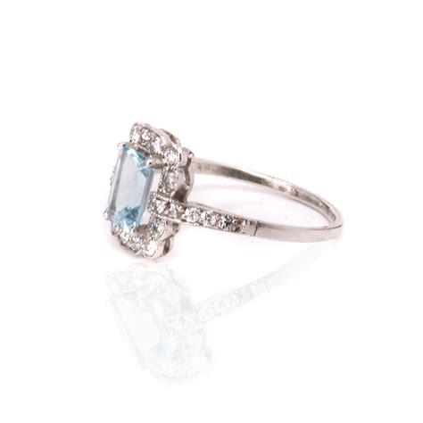 aquamarine deco ring platinum deco aquamarine and ring from the 1920 s