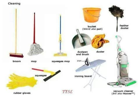 cleaning tool cleaning tools vocabulary vocabulary pinterest